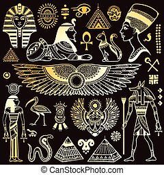 ägypten, symbole, satz, freigestellt, vektor