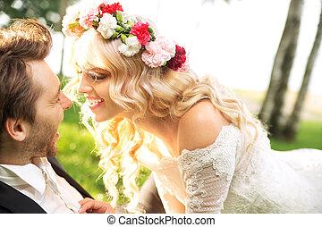 äktenskap, par, under, den, honeymon