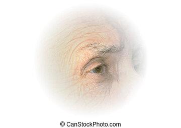 äldre, ögon, vinjett