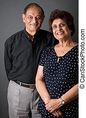 äldre, östlig indier, par