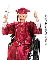 äldre, akademiker, in, rullstol