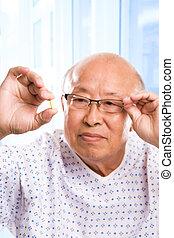 äldre, asiat, sjukvård