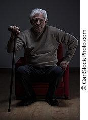 äldre, att gå klibbar, man