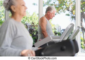 äldre bemanna, exercerande, in, wellness, klubba