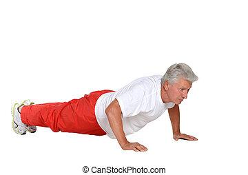 äldre bemanna, exercerande