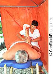 äldre bemanna, ha, massera, och, kurort, terapi, utanför