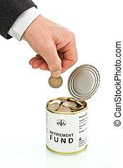 äldre bemanna, hand, sätta, mynt, i tillbakadragande, fond