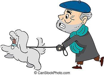 äldre bemanna, hund promenera