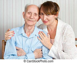 äldre bemanna, kvinna, med, deras, caregiver, hos, home.