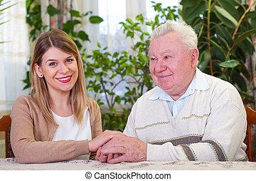 äldre bemanna, med, glad, caregiver