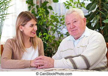 äldre bemanna, med, sondotter