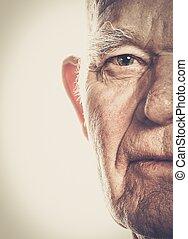 äldre bemanna, närbild, ansikte