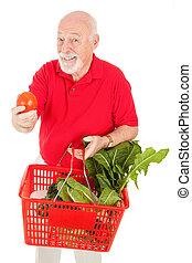 äldre bemanna, shoppar, för, producera