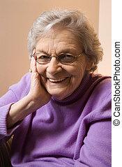äldre, caucasian, kvinna, le.