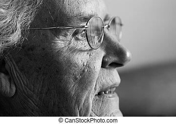 äldre, dam, skratta, sida se