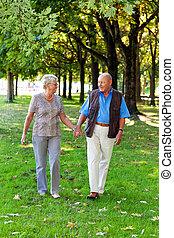 äldre, elderly kopplar ihop, in, love.