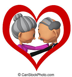 äldre folk, in, love3d