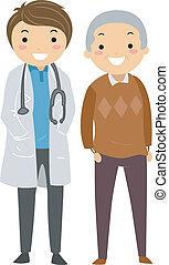 äldre hane, med, läkare