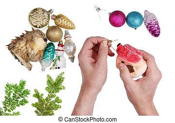 äldre, jultomten, sig själv, reparation, den, gammal, årgång, jul, gran träd, utsmyckningar, och, toys.