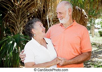äldre koppla, -, bra, förhållande