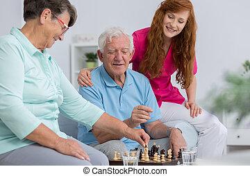 äldre koppla, carer