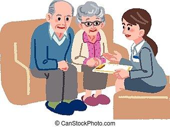 äldre koppla, konsultera
