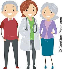äldre koppla, med, deras, läkare, stickman