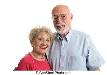 äldre koppla, tillsammans, horisontal
