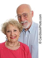äldre koppla, tillsammans, vertikal