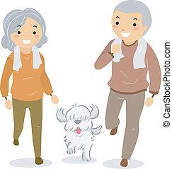 äldre koppla, vandrande, deras, hund, stickman