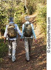 äldre koppla, vandrande, in, skog