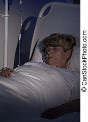 äldre kvinna, in, härbärge