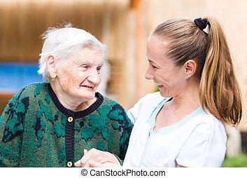 äldre kvinna, med, caregiver