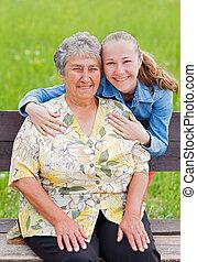 äldre kvinna, och, henne, dotter