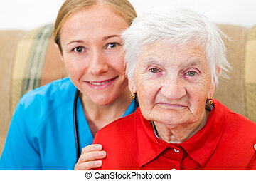 äldre kvinna, och, ung läkare
