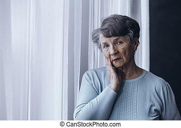 äldre människa, lidande, från, alzheimer