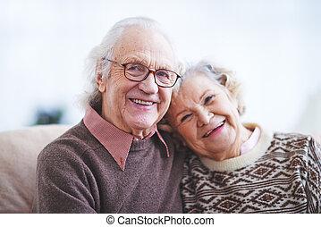 äldre, make, fru