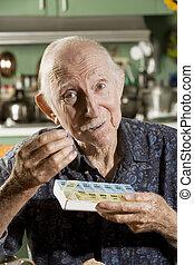 äldre, man, med, a, piller fall