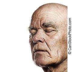 äldre, mannens, ansikte, över, vit fond