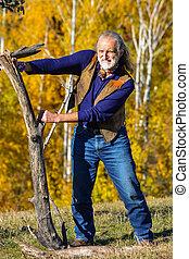 äldre, mannens, utomhus, övning