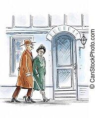 äldre par promenera