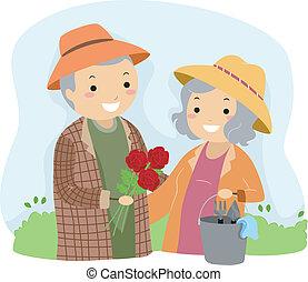 äldre par trädgårdsarbete, stickman