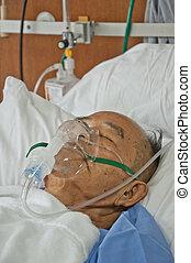 äldre, patien, in, sjukhus