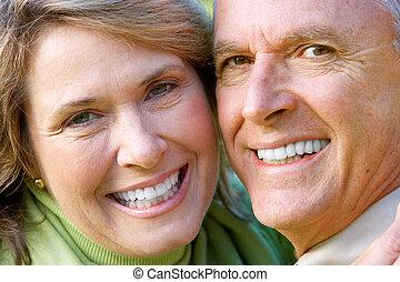 äldre, seniors, par