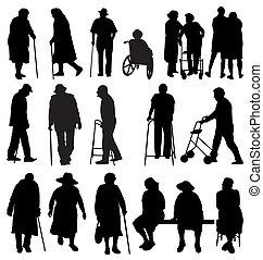 äldre, silhouettes