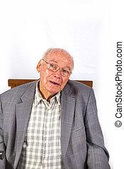 äldre, smart, tillitsfull, bemanna sitta, in, hans, fåtölj
