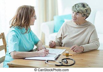 äldre, tålmodig, med, a, läkare