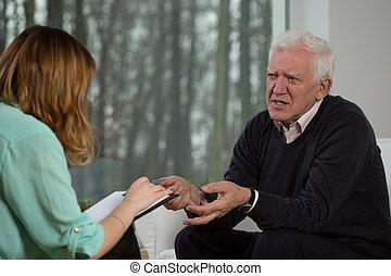 äldre, tålmodig, talande, med, psykoterapeut