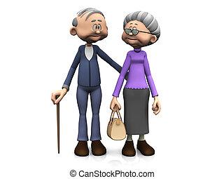 äldre, tecknad film, par.