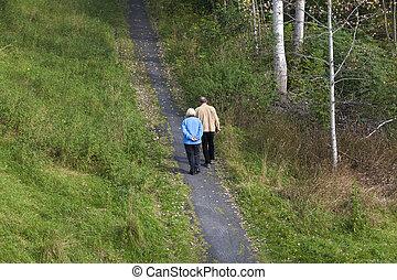 äldre, vandrande, par